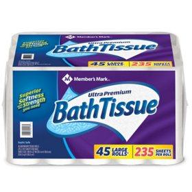 Member's Mark Ultra Premium Bath Tissue, 2-Ply Large Roll (235 sheets, 45 rolls)