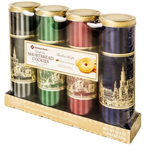 Member's Mark European Shortbread Cookies Tins by Stockmeyer, Assorted Colors (14.1 oz. ea., 4 pk.)