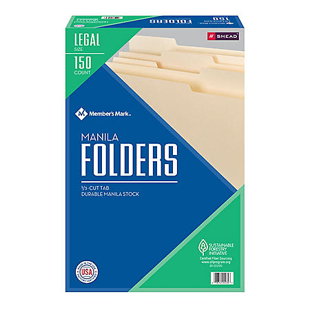 Member's Mark File Folders by Smead, 1/3 Cut Assorted Tabs, Legal Size (150 ct.)
