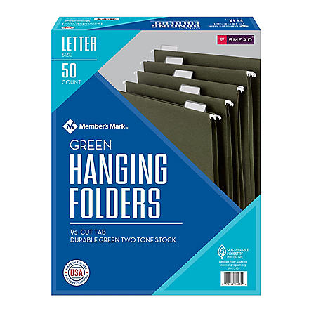 Member's Mark Smead Hanging Folders with Tabs, 1/5 Cut Adjustable Tabs, Letter Size (50 ct.)