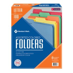 Member's Mark Smead File Folders, 1/3 Cut, Letter Size, Assorted Colors (100 ct.)