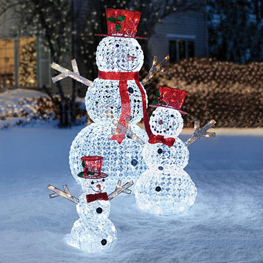 members mark crystal beaded twinkling snowman family set of 3 sams exclusive