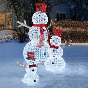 members mark crystal beaded twinkling snowman family - Sams Club Christmas Decorations