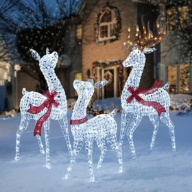 members mark crystal beaded twinkling deer family - Sams Club Christmas Decorations Outdoor