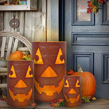 Member's Mark Lighted Jack-O'-Lantern Oil Barrels, Set of Three