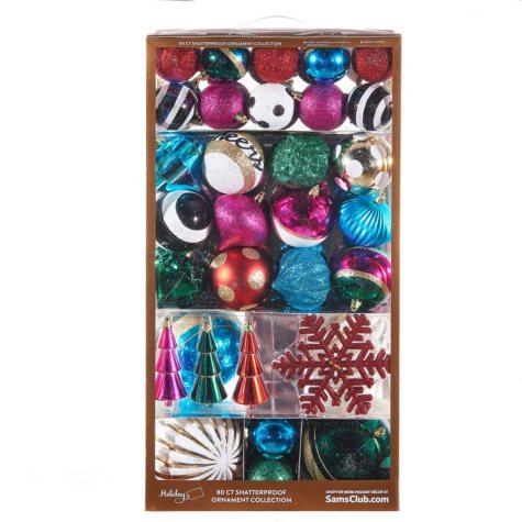 Member's Mark Shatterproof Ornaments Trend Collection, Mix & Mingle (80 ct.)