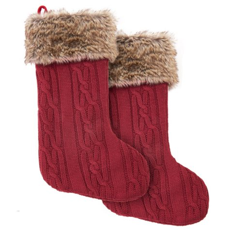 """Member's Mark 28"""" Christmas Hanging Stocking, Set of 2 (Assorted Colors)"""