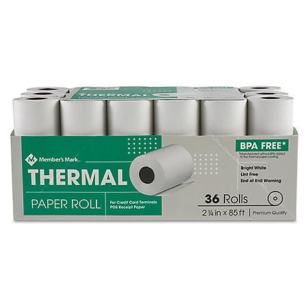 "Member's Mark Thermal Receipt Paper Rolls, 2 1/4"" X 85', 36 Rolls"