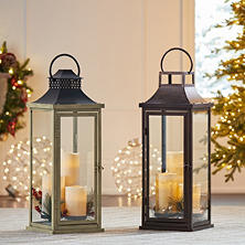 Member's Mark Metal Lantern with LED Candles and Greenery Accents (Assorted Styles)