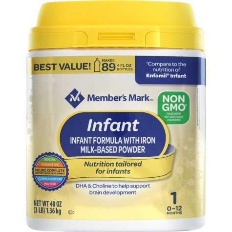 Member's Mark Non-GMO Infant Formula, Infant (48 oz.)
