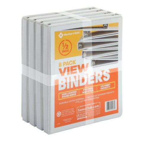 "Member's Mark 1/2"" Round-Ring View Binder, White (8 pk.)"