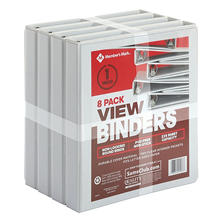 "Member's Mark 1"" Round-Ring View Binder, White (8 pk.)"