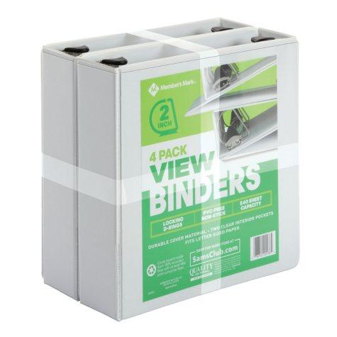 """Member's Mark 2"""" D-Ring View Binder, White (4 pk.)"""