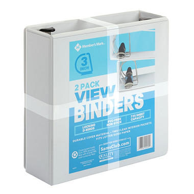 member s mark 3 d ring view binder white 2 pk sam s club
