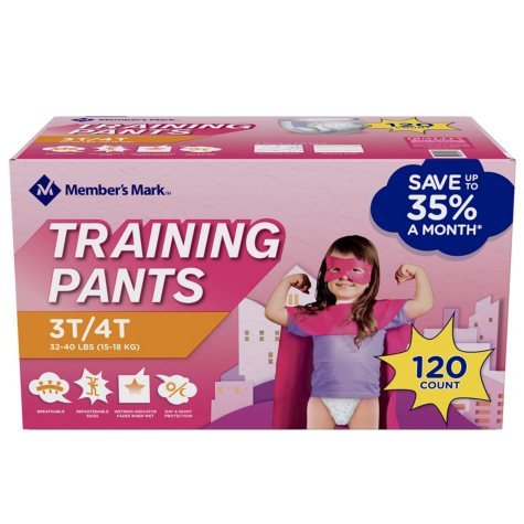 Member's Mark Training Pants for Girls 4T/5T, 38+ lbs. (100 ct.)