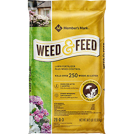 Members's Mark Weed & Feed Lawn Fertilizer Plus Weed Control 28-0-3, 34.3 Lbs.