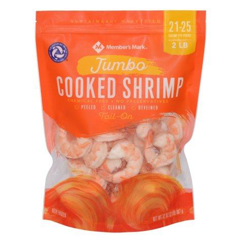 Member's Mark Cooked Jumbo Shrimp (2 lb. bag, 21-25 pieces per pound)