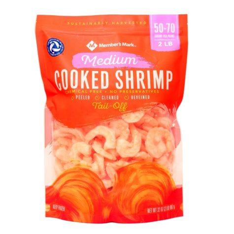 Member's Mark Cooked Medium Shrimp (2 lb. bag, 50-70 pieces per pound)