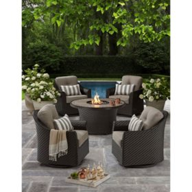 members mark agio heritage fire chat set - Patio Table With Umbrella
