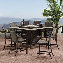 Member's Mark Agio Denver Fire 9-Piece Bar Height Dining Set