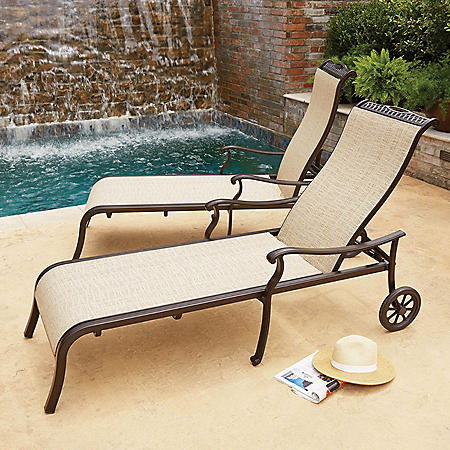 Member S Mark Agio Sling Chaise Lounge With Wheels 2 Pack