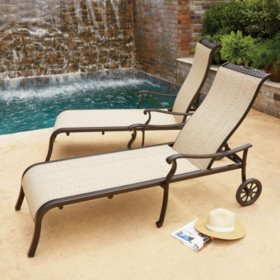members mark agio sling chaise lounge with wheels - Patio Lounge Chairs