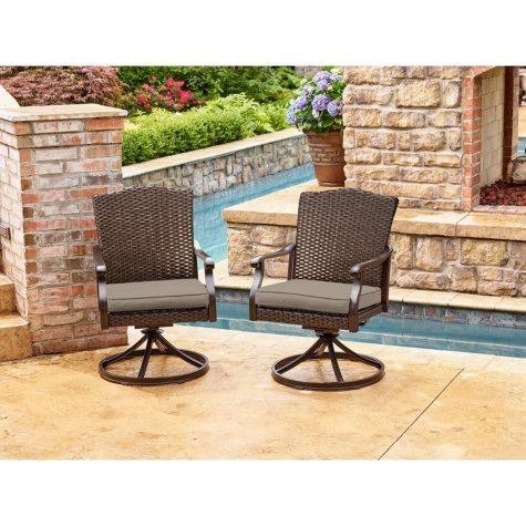 Member's Mark Agio Heritage Sunbrella Swivel Dining Chairs, 2 Pack