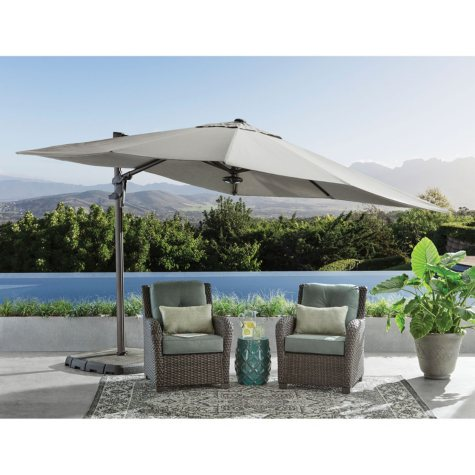10' x 10' Cantilever Umbrella with 4-Piece Base and Light - Cast Shale