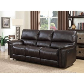 members mark buchanan top grain leather motion sofa - Leather Living Room Furniture