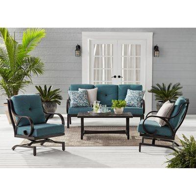 Memberu0027s Mark Harbor Hill Sunbrella Seating Set With 3 Cushion Sofa (Cast  Lagoon)