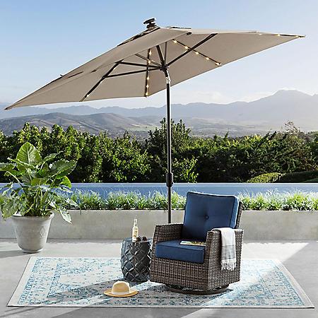 8' x 10' Auto Tilt Umbrella with LED Light (Cast Ash)