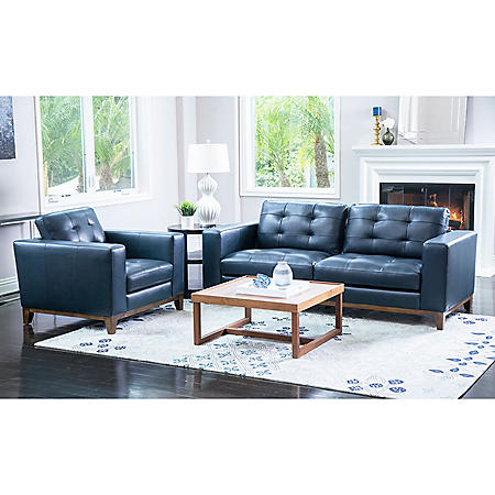 Member's Mark Reyes Top-Grain Leather Sofa and Armchair Set