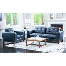 Member's Mark Reyes Top-Grain Leather Sofa and Armchair Set, Dark Teal