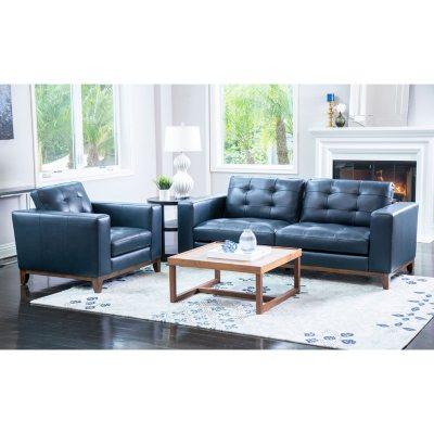Memberu0027s Mark Reyes Top Grain Leather Sofa And Armchair Set