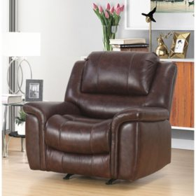 members mark westwood top grain leather recliner - Leather Living Room Furniture