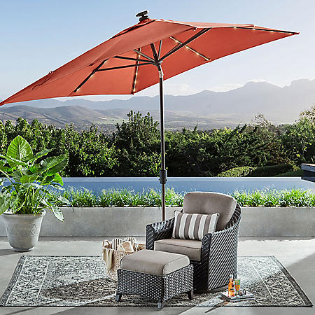 8' x 10' Auto Tilt Umbrella with LED Light (Grenadine)