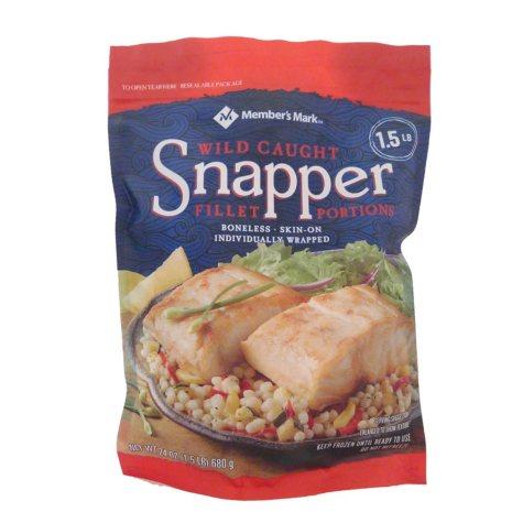 Member's Mark Wild-Caught Snapper Fillet Portions, Frozen (1.5 lbs.)