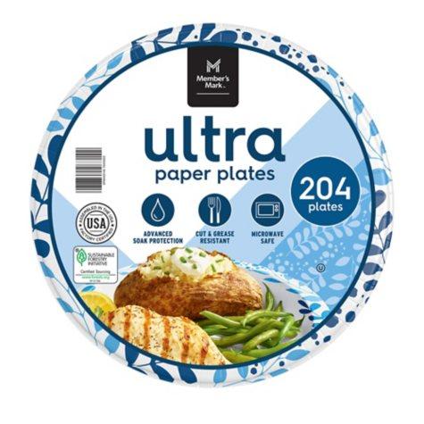 "Member's Mark Ultra 10"" Printed Paper Plates, 204 ct."