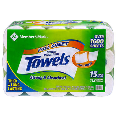 Member's Mark Premium Paper Towel, Huge Rolls (15 Rolls, 112 Sheets)