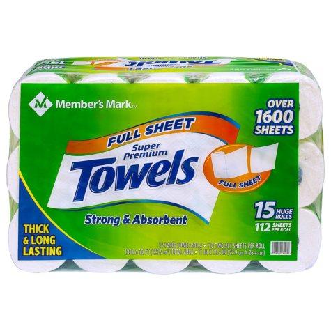 Member's Mark Premium Paper Towel, Huge Rolls (15 Rolls, 112 Sheets)