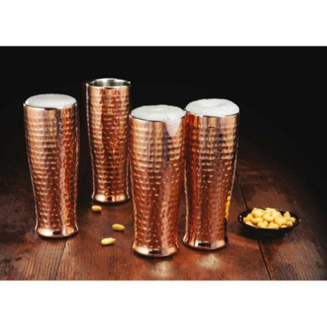 Member's Mark 20 oz Double Walled Hammered Pilsner, Set of 4 (Assorted Finishes)