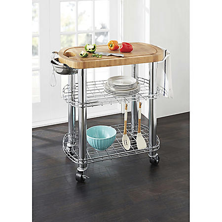 Member's Mark Bamboo Prep Table Kitchen Island   Grill Station
