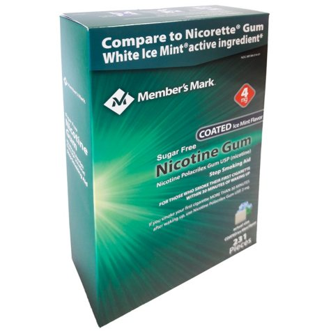 Member's Mark 4mg Nicotine Gum, Coated Ice Mint (231 ct.)