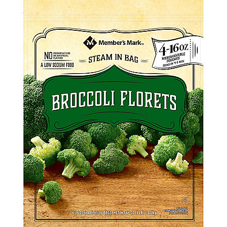 Member's Mark Steamable Broccoli Florets (4- 1 lb. bags)