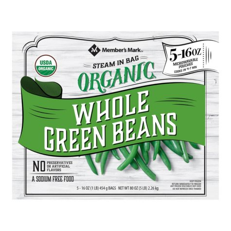Member's Mark Organic Whole Green Beans (16 oz. pouches, 5 count)