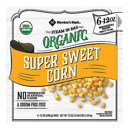 Member's Mark Organic Cut Corn (12 ounce pouches, 6 count)