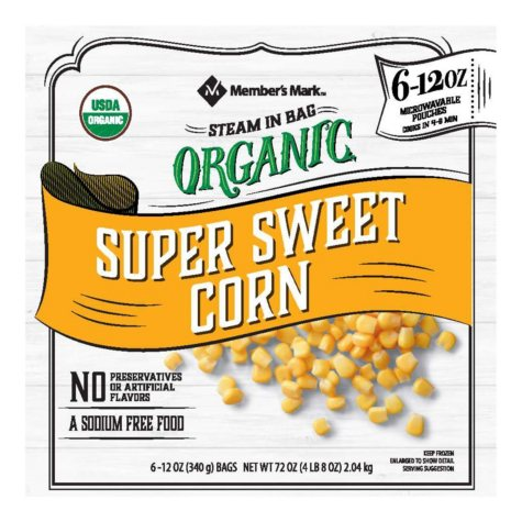 Member's Mark Organic Cut Corn (12 ounce pouches, 6 count)