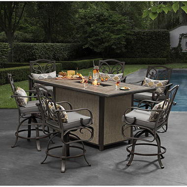 Member\'s Mark Edenderry Fire 7-Piece Bar Height Dining Set - Sam\'s Club