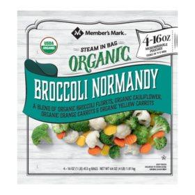 Member's Mark Organic Broccoli Normandy (16 oz. pouches, 4 pk.)