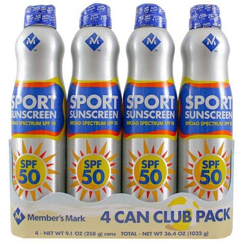 Member's Mark Sport SPF 50 Continuous Spray Sunscreen (9.1 oz., 4 pk.)